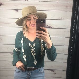 Green embroidered long sleeve boho western top